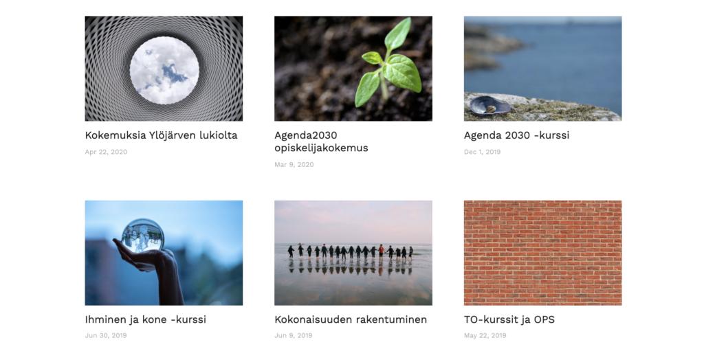 Hankkeen blogin kuvakaappaus, jossa näkyy kuuden bloigipostauksen kuvaa. Kuvaa klikkaamalla siirryt blogiin.