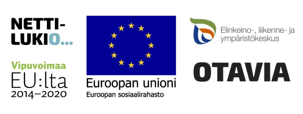 Hankkeen logot: Nettilukio, Vipuvoimaa EU:lta 2014-2020, Euroopan Unioni, Euroopan sosiaalirahasto, Elinkeino-, liikenne- ja ympäristökeskus ja Otavia