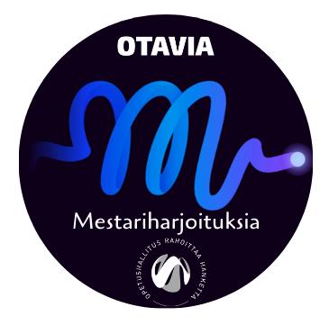 Mestariharjoituksia-hankkeen logo. Otavian logo. Opetushallitus rahoittaa -logo